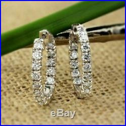 1.10Ct Round Cut VVS1/D Diamond Huggie Hoop Earrings Solid 14K White Gold Finish