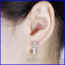 1.15Ct Round Cut VVS1/D Diamond Huggie Hoop Earring Solid 14K White Gold Finish