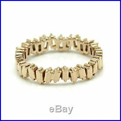 1.5 Ct Baguette Diamond Half Eternity Wedding Band Ring 14K Solid Rose Gold Over