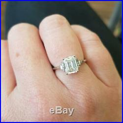 1.50 Ct Emerald VVS1 Diamond Engagement Wedding Ring Solid 14k White Gold Over