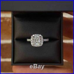 1.50Ct Cushion Cut Diamond Promise Engagement Ring Solid 14K white Gold Finish