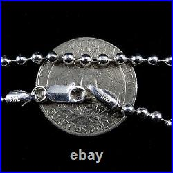 1.5MM 2MM 2.5MM 3MM 4MM Solid 925 Sterling Silver BALL/BEAD Chain Necklace Italy
