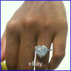 1.90 Ct Heart Shape Halo Engagement Wedding Promise Ring Solid White Gold Finish