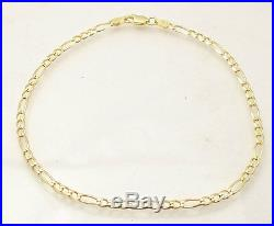 10 Italian Solid Royal Figaro Ankle Bracelet Anklet 14K Yellow Gold Clad Silver