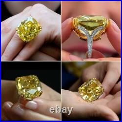 100 Carat Yellow Diamond Ring Victorian Style Solid 925 Sterling Silver