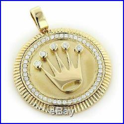 10K Solid Yellow Gold Finish 2.00 Ct Diamond Crown Medallion Pendant Pave Charm