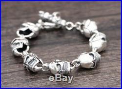 13mm solid 925 Sterling Silver men's skull link biker bangle bracelet S1484