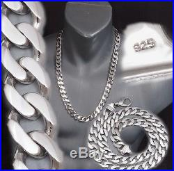 142g 26 CURB CUBAN CHAIN HEAVY LINK 925 STERLING SOLID SILVER MENS NECKLACE PRE