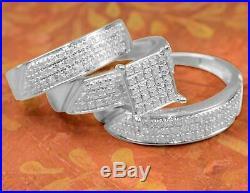 14K Solid White Gold Finish DVVS1 Diamond Trio Bridal Wedding Ring Band Set