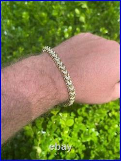 14k Gold & Real Solid 925 Sterling Silver Men's Franco Bracelet 6mm ICED Diamond