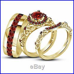 14k Solid Yellow Gold Fn 2.10CT Round Garnet Trio Ring Set Engagement Wedding