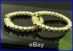 14k Solid Yellow Gold Over Diamond Huggies Hoop Valentine Earring Snap Lock 2 ct