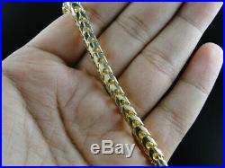 14k Yellow Gold Finish Solid Franco Box Cuban Necklace Sterling Silver 6 mm 38in