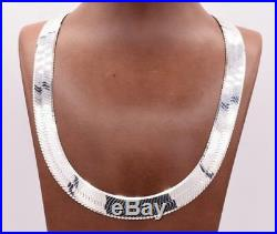 14mm Bold Herringbone Chain Necklace Real Solid Sterling Silver 925 Italy