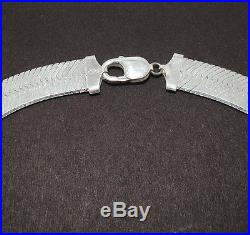 14mm Bold Wide Herringbone Chain Necklace Solid 925 Sterling Silver