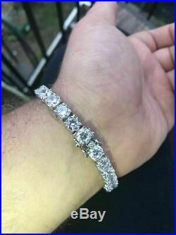 15 Ct VVS1 Diamond Single Row Tennis Men's Bracelet Solid 14K White Gold Over
