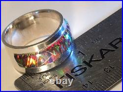 15 Heavy Solid Sterling Silver Red Black Fire Opal Band Mens Ring Pipe Cut