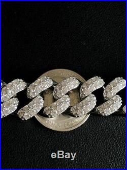 15mm Mens Miami Cuban Link Chain Real Solid 925 Sterling Silver Diamonds HIP HOP