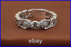 15mm solid 925 Sterling Silver men's leopard link biker bangle bracelet S1400