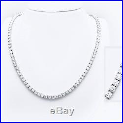 16 Created Diamond Tennis Necklace 13 75tcw Round 925 Solid