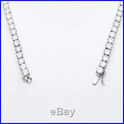 16 Created Diamond Tennis Necklace 13.75tcw Round 925 Solid Sterling Silver 3mm