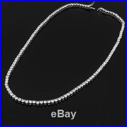 16 Created Diamond Tennis Necklace 24.00tcw Round 925 Solid Sterling Silver 4mm