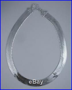 16mm Herringbone Solid Necklace Sterling Silver 925 Italy Chain 20,22,24,30 inch