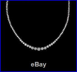 18 Created Diamond Graduated Tennis Necklace 40.00tcw 925 Solid Sterling Silver