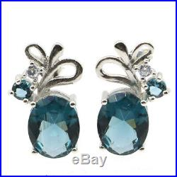 18x11mm Pretty 3.0g London Blue Topaz 925 Solid Sterling Silver Stud Earrings