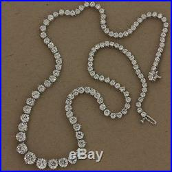 19.00Cts TW Graduated 3-Prong Diamond Solid Sterling Silver 20 Tennis Necklace