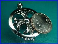 19.5 Grams Solid Chrome Hearts Sterling Silver 925 Cross Round Pendant Medallion