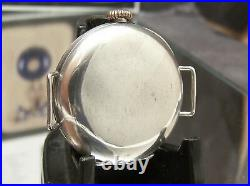 1910 Early Rolex W&d Antique Vintage Solid Silver Half Hunter Trench Style Watch
