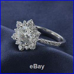 2.00 CT Diamond Engagement Snowflake Cluster Ring Solid 925 Sterling Silver