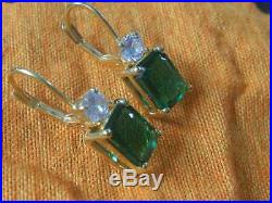 2.00 Ct Green Emerald Women's Lever Back Earrings Solid 14K Yellow Gold Over