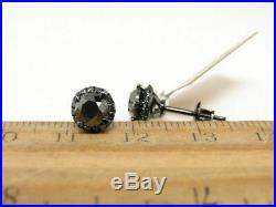 2.10Ct Round Cut Black Diamond Halo Stud Earrings Solid 14K Black Gold Finish