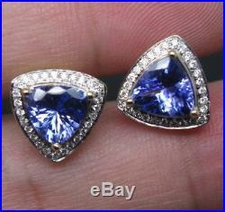 2.10Ct Trillion Cut Tanzanite & Diamond Solid Earrings 14k Yellow Gold Finish