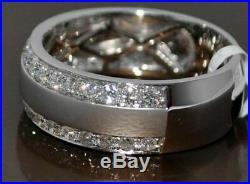 2.20 Ct Diamond Men's Engagement Wedding Band Ring Solid 14k White Gold Finish