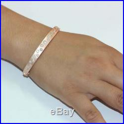 2.23 Ct. With Diamond Bangle Bracelet Solid 14k Rose Gold Over Gift For Lover