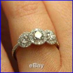 2.50 Ct Round Cut VVS1 Diamond Engagement Wedding Ring Solid 14k White Gold Over