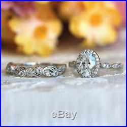 2 CT Diamond Halo Vintage Engagement Wedding Band Ring Set Solid 14K White Gold