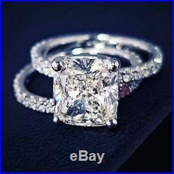 2 Ct Cushion Cut Diamond Bridal Set Engagement Ring Solid 14k White Gold Finish