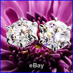 2 Ct Moissanite Solitaire Earrings Engagement Wedding Solid Sterling Silver