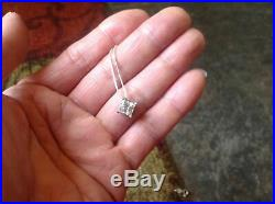 2 Ct Princess Cut Diamond Solitaire Pendant Necklace Solid 925 Sterling Silver