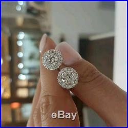 2 Ct Round Cut Sparkle Moissanite Halo Solid Stud Earrings 14K White Gold Over