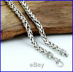 20Inch Solid 925 Sterling Silver Necklace 6mm Wheat Link Chain Necklace 50cm