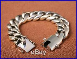 210g Solid 925 Sterling Silver Men's link Biker Heavy Wide bracelet bangle 20mm