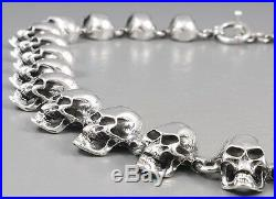 22 174g HEAVY SKULL SKELETON 925 STERLING SOLID SILVER MENS NECKLACE CHAIN pre