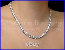 24 Created Diamond Tennis Necklace 80.00tcw Round 925 Solid Sterling Silver 6mm