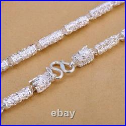 24INCH Solid 999 Sterling Silver 6mm Dragon Head Tube Bead Link Chain Necklace