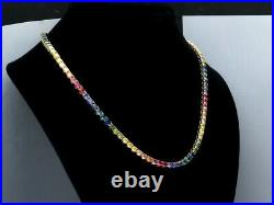 25.00 TCW Round Color Gemstone Rainbow Tennis Necklace 925 Solid Sterling Silver